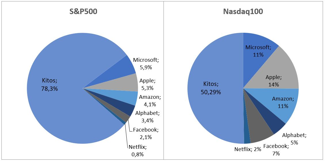 FAANG sudėtis Nasdaq100 ir S&P500 indeksuose